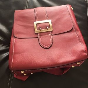 NWT Red leather backpack purse